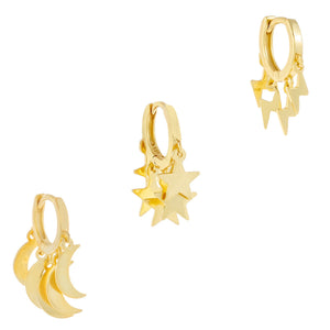 Mini Celestial Huggie Earring Combo Set Gold - Adina's Jewels