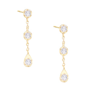 Bezel Teardrop Drop Stud Earring Gold - Adina's Jewels