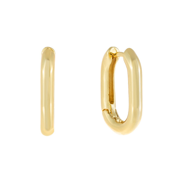 Gold Solid Link Hoop Earring - Adina's Jewels