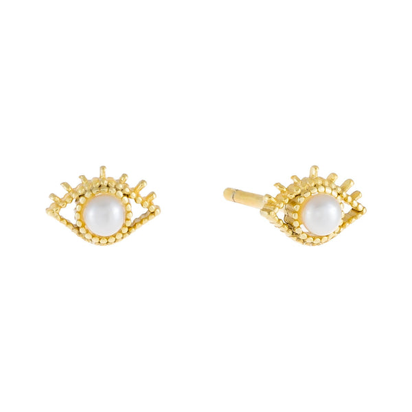 Pearl White Evil Eye X Pearl Stud Earring - Adina's Jewels