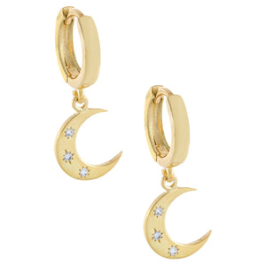 Gold CZ Moon Huggie Earring - Adina's Jewels