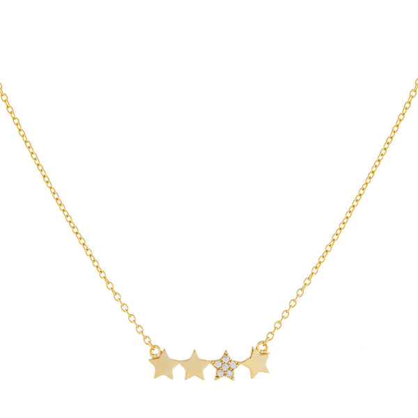 Pavé X Solid Multi Star Necklace