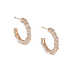 Pavé Hexagon Hoop Earring Rose Gold - Adina's Jewels
