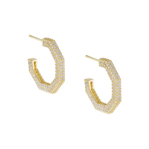 Pavé Hexagon Hoop Earring Gold - Adina's Jewels