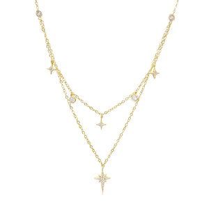Two in One CZ Starburst Necklace Gold - Adina's Jewels