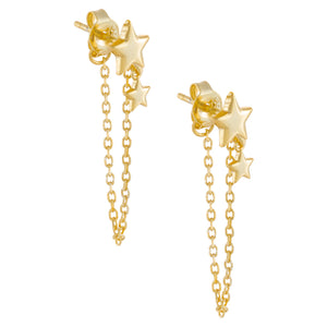 Gold Solid Star Chain Stud Earring - Adina's Jewels
