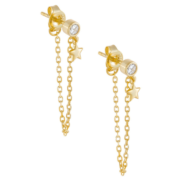 CZ Star Chain Stud Earring
