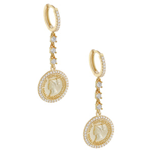 Pavé Coin Drop Huggie Earring Gold - Adina's Jewels