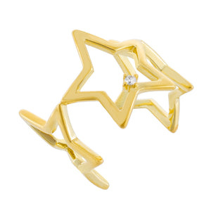 CZ Open Stars Ring Gold - Adina's Jewels