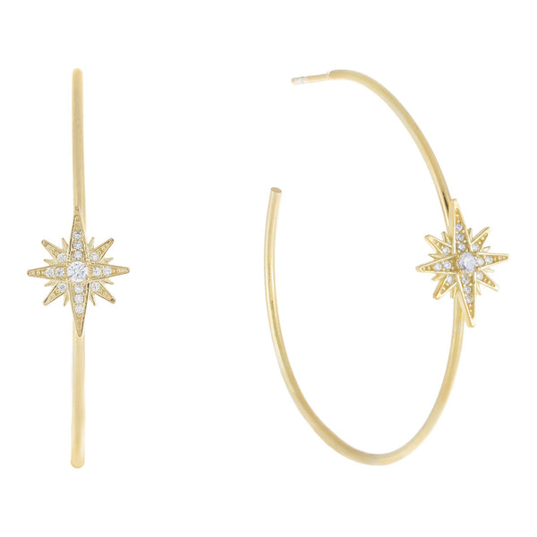 Gold Large CZ Starburst Hoop Earring - Adina's Jewels