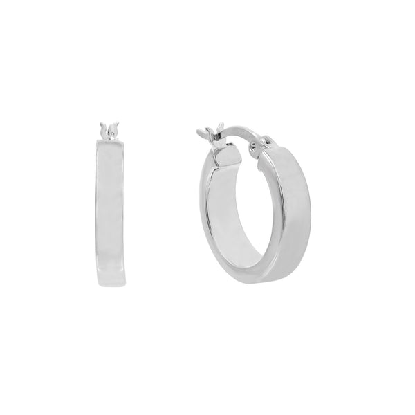 Silver / 15 MM Thick Wide Hoop Earring - Adina's Jewels
