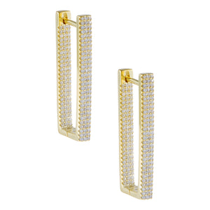 Pavé Rectangular Huggie Earring Gold - Adina's Jewels