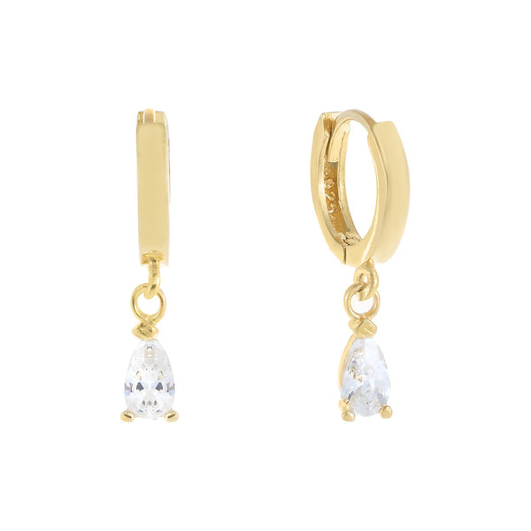 Gold Mini Teardrop Dangle Huggie Earring - Adina's Jewels