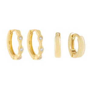 Bezel X Solid Huggie Earring Combo Set Gold - Adina's Jewels