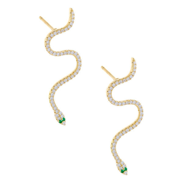 Gold CZ Snake Drop Stud Earring - Adina's Jewels