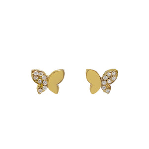 CZ X Solid Butterfly Stud Earring Gold - Adina's Jewels