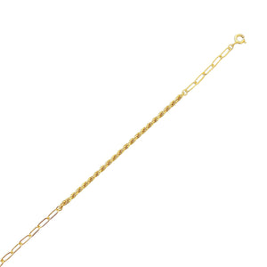Rope Chain X Oval Link Bracelet Gold - Adina's Jewels