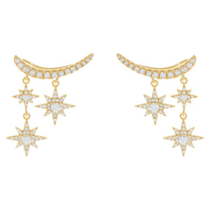CZ Starburst Ear Climber Gold - Adina's Jewels