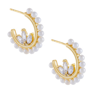 CZ Flower X Pearl Hoop Earring Pearl White - Adina's Jewels