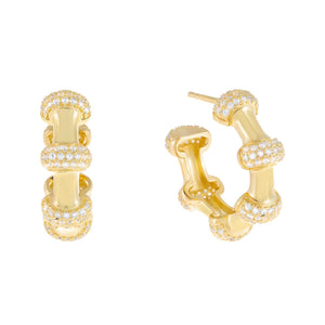 Gold Bamboo Pavé Hoop Earring - Adina's Jewels