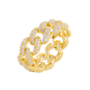 Gold / 6 Pavé Chain Link Ring - Adina's Jewels