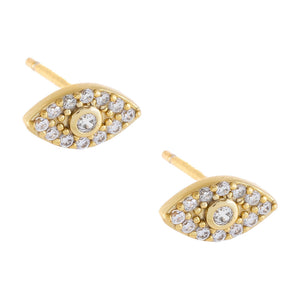 Bezel Evil Eye Stud Earring Gold - Adina's Jewels