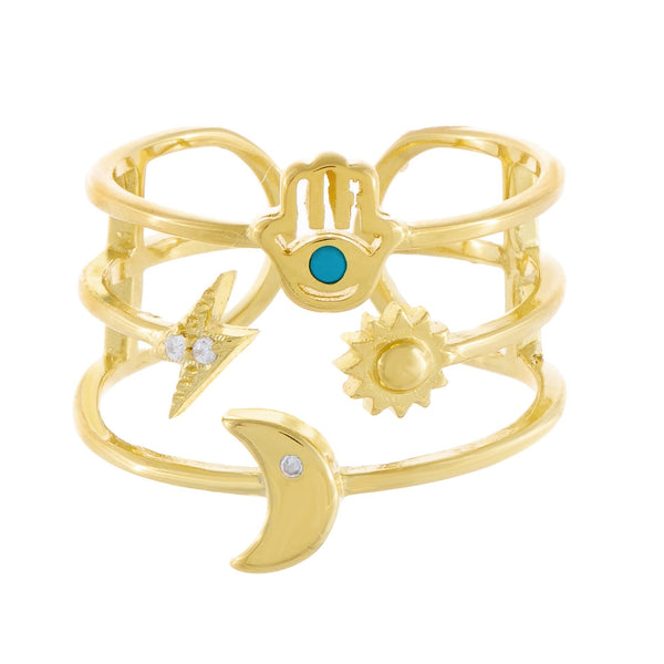 Hamsa X Celestial Ring - Adina's Jewels