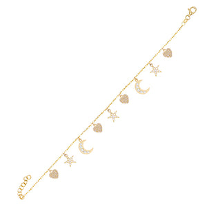 Pavé Dangling Charms Bracelet Gold - Adina's Jewels
