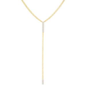 Gold CZ Bar Cuban Chain Lariat - Adina's Jewels