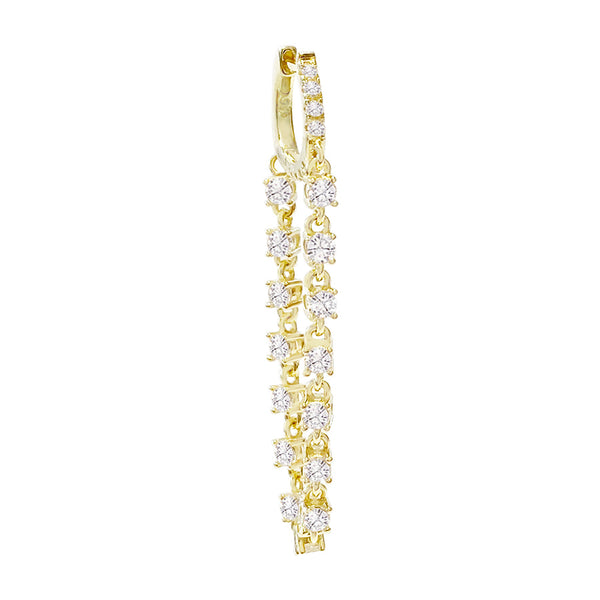 CZ Stone Chain Huggie Earring Gold / Single - Adina's Jewels