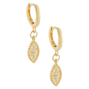 CZ Starburst Evil Eye Huggie Earring Gold - Adina's Jewels