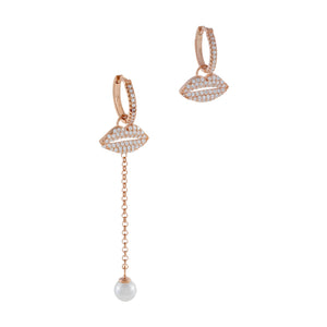 Pavé Lip X Pearl Drop Huggie Earring Rose Gold - Adina's Jewels