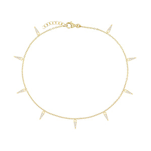 CZ Spike Dangle Anklet Gold - Adina's Jewels