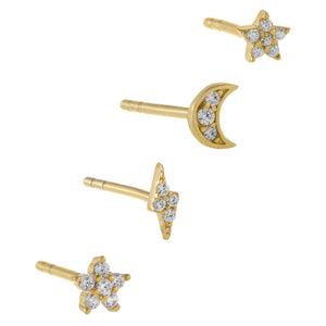 CZ Tiny Mismatched Stud Earring Combo Set Gold - Adina's Jewels