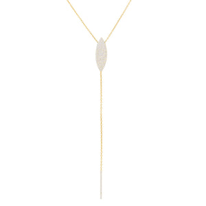 Gold Pavé Teardrop Lariat - Adina's Jewels