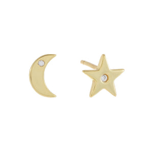 CZ Star X Moon Stud Earring Gold - Adina's Jewels