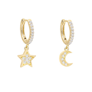 Pavé Moon X Star Huggie Earring Gold - Adina's Jewels