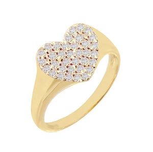 Pavé Heart Pinky Ring Gold / 3 - Adina's Jewels