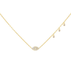 CZ Bezel Evil Eye Necklace Gold - Adina's Jewels