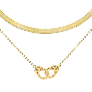 Gold Handcuff X Herringbone Necklace Combo Set - Adina's Jewels