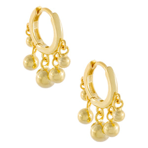 Dangling Beads Huggie Earring Gold - Adina's Jewels