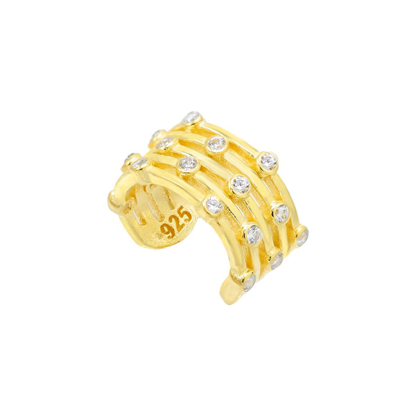 Gold Five Row Bezel Ear Cuff - Adina's Jewels