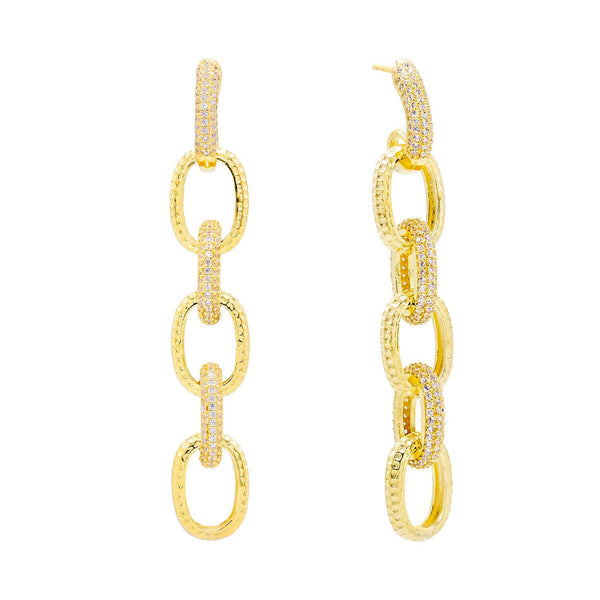 Gold Pavé Large Chain Drop Stud Earring - Adina's Jewels