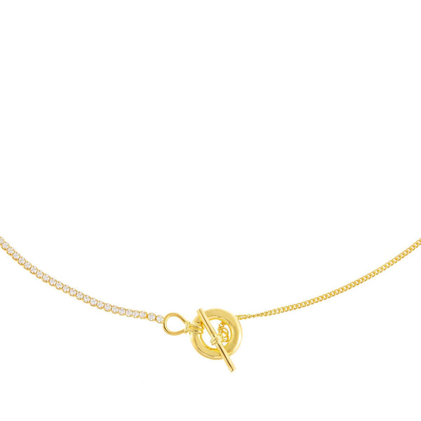 Gold CZ X Cuban Chain Toggle Necklace/Lariat - Adina's Jewels