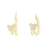 Pavé Mini Butterfly Hoop Earring Gold - Adina's Jewels