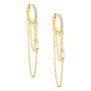 Gold CZ Baguette Chain Huggie Earring - Adina's Jewels