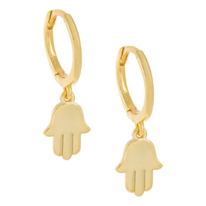 Solid Hamsa Huggie Earring Gold - Adina's Jewels