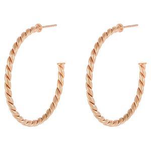 Rose Gold / 35 MM Twisted Rope Hoop Earring - Adina's Jewels