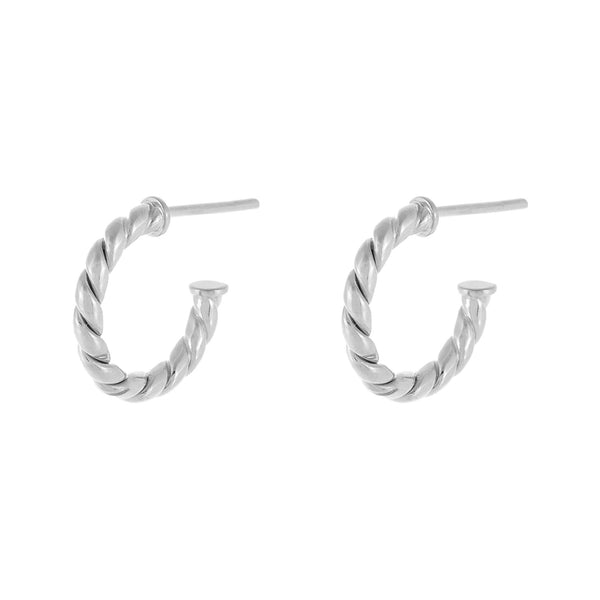 Silver / 15 MM Twisted Rope Hoop Earring - Adina's Jewels