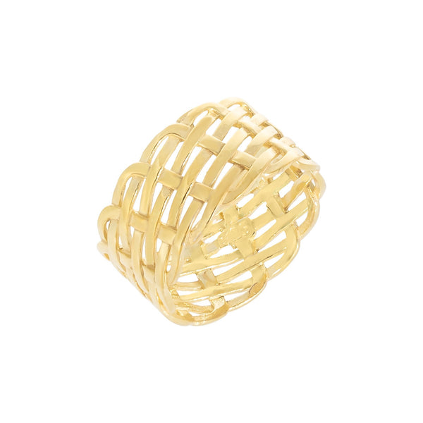 Gold / 7 Wide Woven Ring - Adina's Jewels